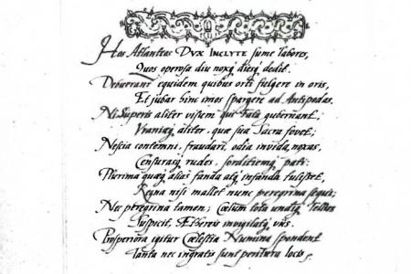 """Widmung Tycho Brahes an Herzog Friedrich Wilhelm I. von Sachsen-Weimar-Altenburg. In """"Stellarium octavi orbis inerrantium accurata restitutio"""""""