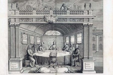Berühmte Astronomen am Tisch: Johannes Hevelius. Prodromus astronomiae