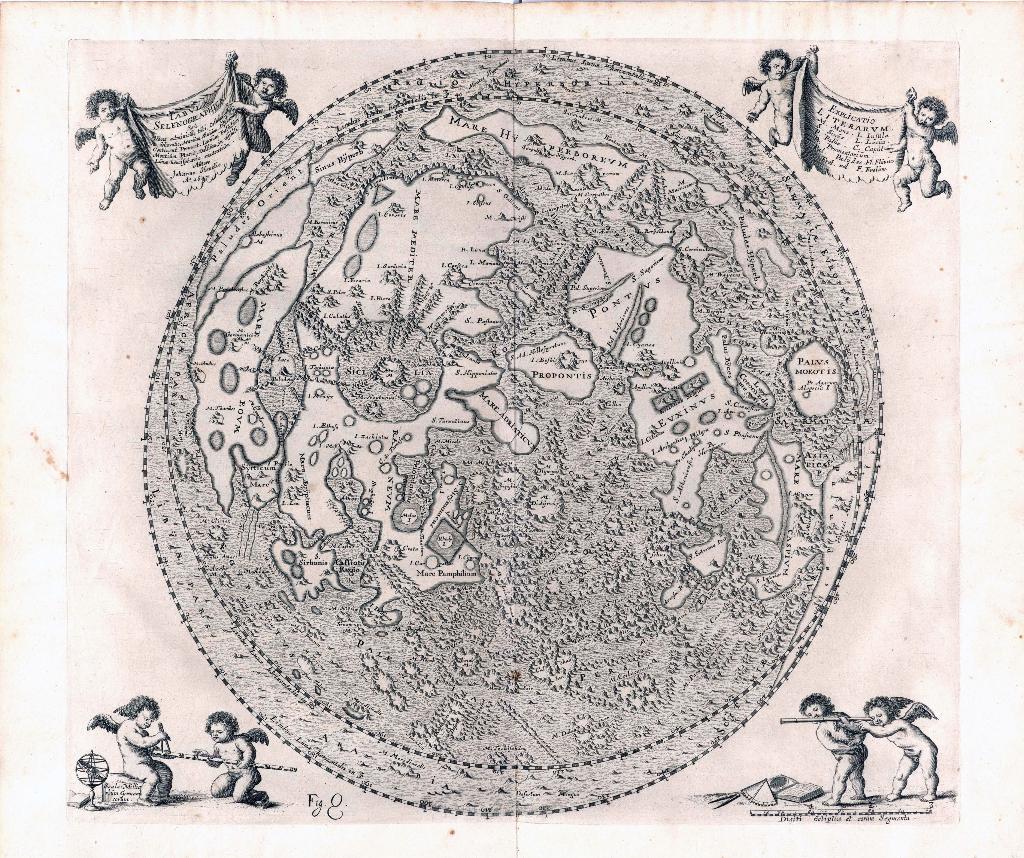 Darstellung der Mondoberfläche. In: Johannes Hevelius. Selenographia