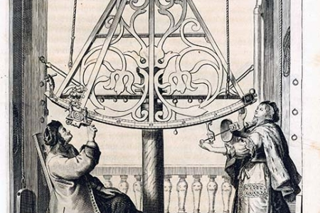 Hevelius mit seiner Frau Elisabeth an einem Sextanten. In: Johannes Hevelius. Machina coelestis