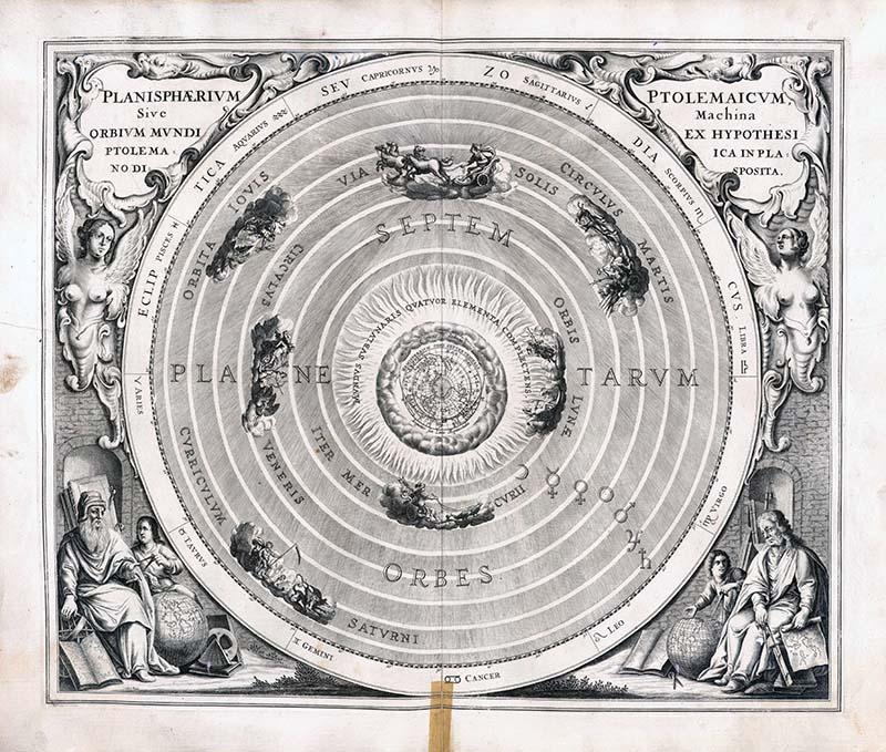 Weltbild des Ptolemaios in Andreas Cellarius: Harmonia macrocosmica.